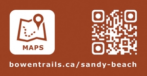 An icon for maps, and a spotty looking square design - which is the QR code. Beneath is a type URL.