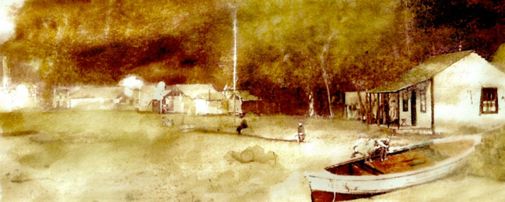 A sepia water colour version of an old photo of a rowboat and cabin on the beach.